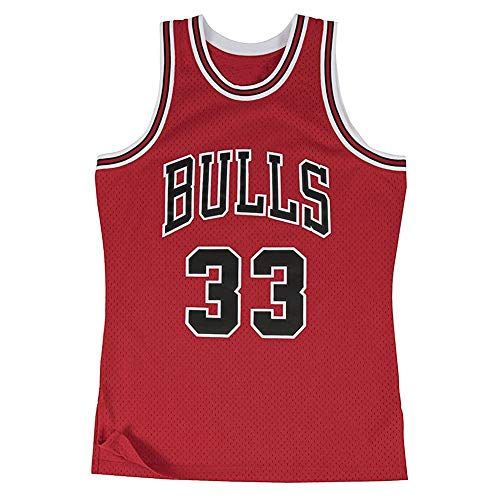 Throwback Basketball Trikot - Chicago Bulls 33# Scottie Pippen Basketball Shirt Stickerei Tops Basketball Anzug Swingman Legend Basketball Trikot (S-2XL)-S(165cm.170cm)