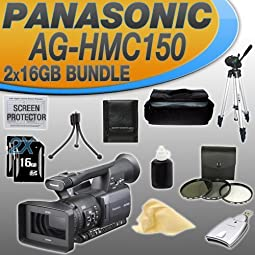 .Panasonic Pro AG-HMC150 3CCD AVCHD 24fps Camcorder with Two 16GB SDHC Memory Cards (DOUBLE MEMORY KIT!!!) + 3... .