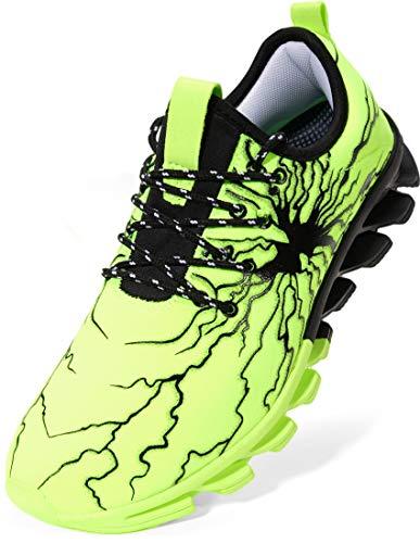 BRONAX Zapatos para Correr Hombre Zapatillas de Deportes Tenis Deportivas Running Calzado Trekking Sneakers Gimnasio Transpirables Casual Montaña Verde 46