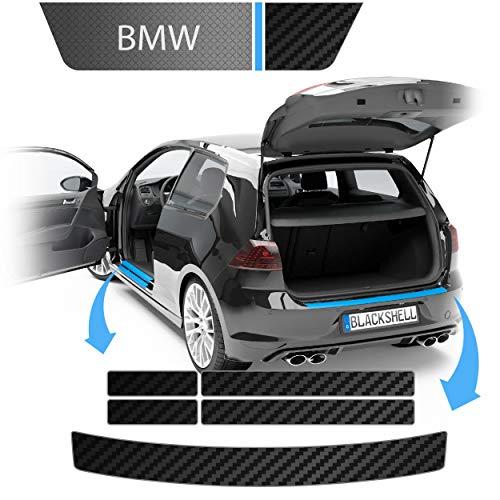 Blackshell® Ladekantenschutz + Einstiegsleisten Folie passend für BMW X3 | Typ E83 | Bj. 2003-2010 Carbon Matt - passgenaue Lackschutzfolie inkl. Profi Rakel für Folie