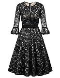 Women's Vintage Floral Lace Dress 3/4 Bell Sleeve Cocktail Formal Swing Dress Size L Black KK2011-1