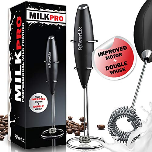 New Double whisk + Improve Motor - PowerLix Milk Frother Handheld Battery Operated Electric Foam Maker For Coffee, Latte, Cappuccino, Durable Drink Mixer With Stainless Steel Whisk,Stand Include