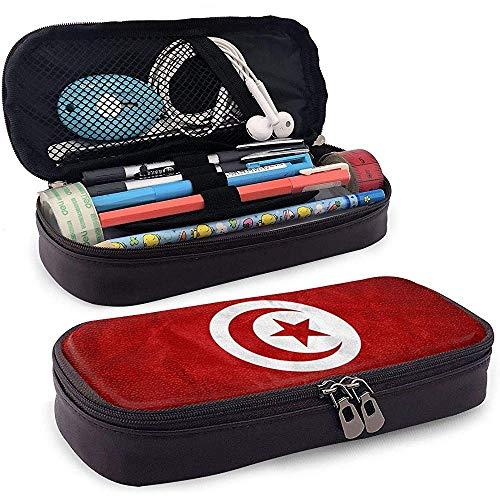 Bandera de Túnez Caja de lápices de cuero de alta capacidad Lápiz Pluma Papelería Titular Caja Organizador Pluma de maquillaje escolar Bolso de papelería para estudiantes