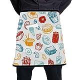 N\A Delantal de Cintura para niños Arte de Dibujos Animados Comida Deliciosa Hamburguesa Cola Delantal Cocina Hombres con Bolsillo Grande Unisex para Cocina Elaboración de Barbacoa Dibujo