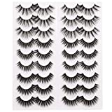3D False Eyelashes Pack Faux Mink Lashes Volume Reusable Soft Strip Lashes 18 Pairs 3 Styles