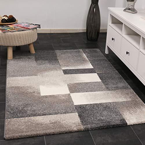 VIMODA Moderner Wohnzimmer Schlafzimmer Teppich Geometrischen Abstrakt Grau und Beige Muster, Maße:120x170 cm