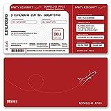 (10 x) Einladungskarten Geburtstag Flugticket Ticket Karte Einladungen in Rot