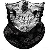 Obacle Skull Face Mask Half for Dust Wind UV Sun Protection Seamless 3D Tube Mask Bandana for Men Women Durable Thin Breathable Skeleton Mask Motorcycle Riding Biker (Skull Light White Smile Face)