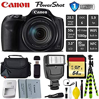 Canon PowerShot SX540 HS Digital Point and Shoot Camera + Extra Battery + Flash + Case + 64GB Memory Card - International Version