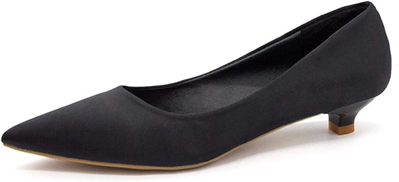 QPGGP-Women's shoes Sharp-Nosed and Shallow-mouthed Single shoes Autumn Single shoes Women's Simple Baitao Cup Heel Low Heel