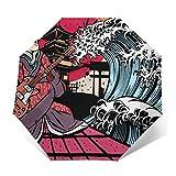 Paraguas de viaje plegable para festivales de música japoneses, resistente al viento, compacto para mujeres y hombres