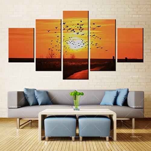 N / A Leinwandmalerei Wandkunst Herbstdämmerung, nachdem die Vögel fliegen Tintenstrahl wasserdichte Tinte Hauptdekoration fliegen