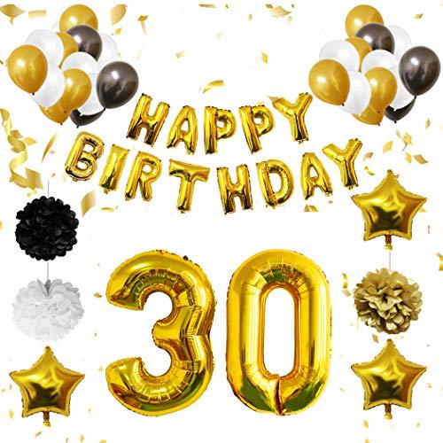 BELLE VOUS 30 Ans d'anniversaire - 26 Pcs 30ème Décorations d'anniversaire Ballons - Bannières de Joyeux et Fête - Blanc, Noir et Or - Happy Birthday Mylar Foil Lettre et Numéro