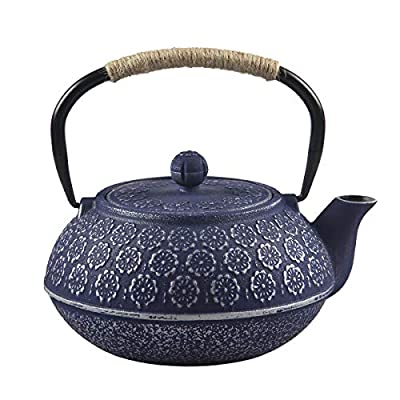 SECHUDO Cast Iron Teapot Tea Kettle pot for Stovetop Safe Coated with Enameled Interior,Japanese Cast Iron teapot with Stainless Steel Infuser (33.8oz/CIT001)