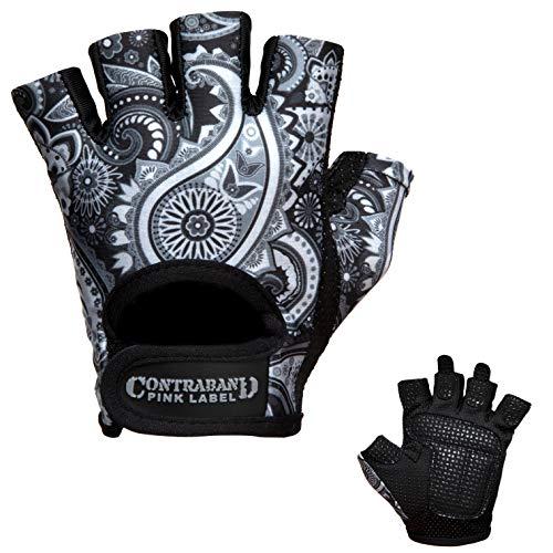 Contraband Pink Label 5387 Womens Design Series Paisley Print Lifting Gloves (Pair) - Lightweight Vegan Medium Padded Microfiber Amara Leather w/Griplock Silicone (Gray, Large)