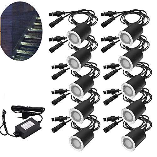 Arote 10 Stück LED Einbaustrahler led Einbauleuchte Bodeneinbauleuchte Led Lampe, IP67 wasserdicht 0,6W Ø32mm aussen Terrasse Küche Garten, neutralweiß