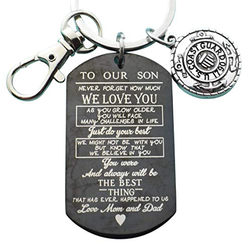 Coast Guard Graduation Gift. Going Away Gift. Graduation Gift. Son Keychain Stainless Steel. Gift to Son Love Mom & Dad. Coast Guard. Boot Camp Gift. Basic Training.