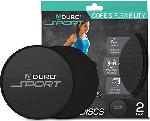 Aduro Sport Exercise Sliders for Fitness Workout [2PK], Double Sided Gilder Strength Slides Discs Work Smoothly on Any Surface for Stretch Strength Core Exercise (Black)