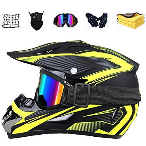 GAODA Motorrad-Helm für Kinder, Jugend Sturzhelm Schutzhelm mit Brillen Gesichtsmasken Cross-Country Handschuhe, Unisex Motorrad Crosshelm für Mountainbike ATV BMX Downhill Offroad. (M)