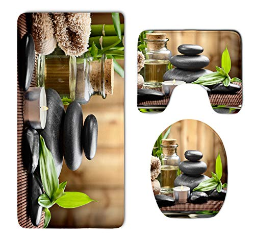 Asian Zen Massage Stone Triplets with Herbal Oil and Scent Candles Skidproof Toilet Seat U Shape Cover Bath Mat Lid Cover 3 Piece Non Slip Bath Rug Mats Sets for Shower SPA