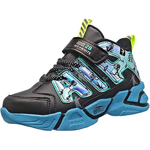 KRONJ Turnschuhe Kinder Jungen Mädchen Basketballschuhe Sportschuhe Sneakers, Blau-35