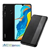 Huawei P30 Lite New Edition (Black) Smartphone + Cover, Midnight Black