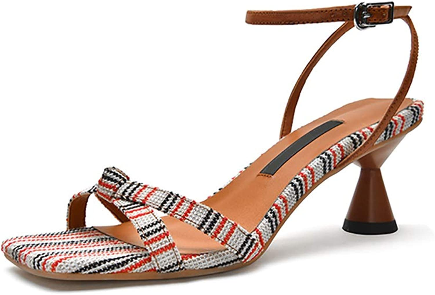Women's Summer Striped Sandals, Square Head Hourglass Heels 6cm (color   Brown, Size   36)
