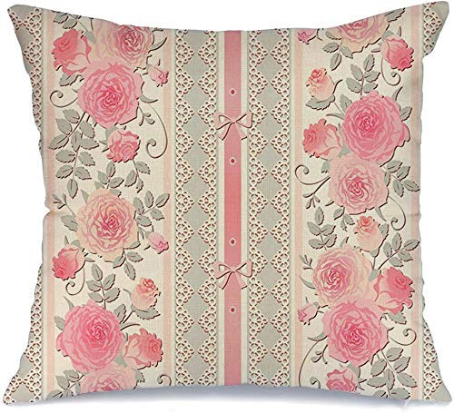 Decoración Throw Pillow Cover Funda de cojín Shabby Grey Pastel Garland Floral Polka Dot Vintage Green Pattern Abstract Bloom Border Bouquet Funda de Cojine 45 X 45CM