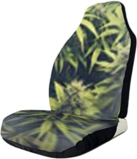 Universal Car Seat Covers,Colorful Cute Vehicle Seat Protector Car Mat Covers ,Non Slip Backing Fit Cars, Sedan, Truck, SUV, Van(Green Weed Cannabis Bud Marihuana Plants Marijuana Hemp Farm Sativa )