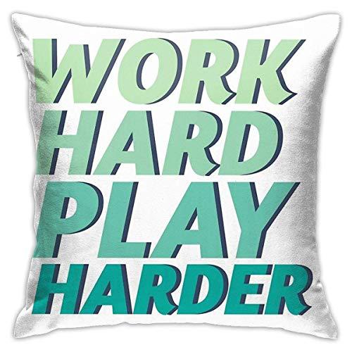 Hdadwy Work Hard Play Harder for Gaming Geek and Nerd Gamer Fundas de Almohada Decorativas para el hogar para sofá Fundas de cojín para sofá 18 x 18 Pulgadas