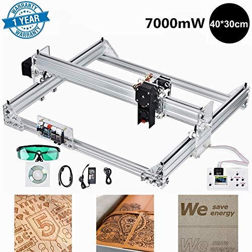 S SMAUTOP 7000mW CNC Laser Graviermaschine Kit 40x30cm 2 Achsen Frasmaschine 12V Lasergravur Maschine mit Offline Controller für Holz Kunststoff Hörner Brieftasche Telefon Shell