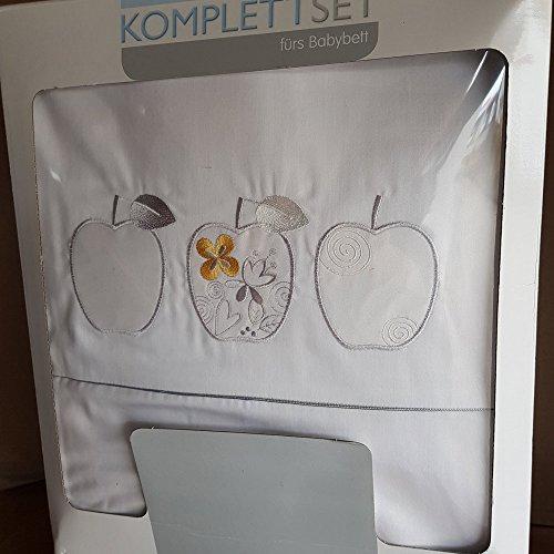 Julius Zöllner Komplettset fürs Babybett SALE Bettsett 3 tlg mit Applikation Weiss 40x60 cm und 100x135cm