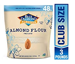 Gluten free Great in recipes and baking Supports Keto and paleo lifestyles Finely sifted and made with high quality blanched almonds Contains 1 - 3 pounds bag of blue diamond almond flour