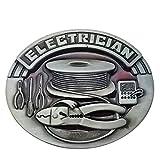 Lanxy Native American Electrician Wire Tool Belt Buckle For Men Red Enamel Grey Tone