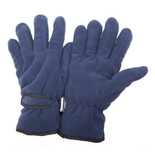 Floso - Guantes térmicos de tejido de forro polar para el invierno hombre/caballero (3M 40g) (Grande (L)) (Azul marino)