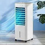 DWW Enfriador Aire Evaporativo 3 En 1 Humidificador Móvil Y Refrigerador Pantano 3 Velocidades, Ventilador Aire Acondicionado Portátil Ventilador De Enfriamiento Silencioso con Rueda Ruedas, Blanco