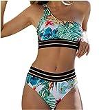 POachers Mujer Bikinis un Hombro Estampado Braga Alta Vendaje Brasileño Sexy Tanga Bañadores Push Up con Relleno Traje de Baño Natacion Playa Verano Fiesta Piscina Tops y Braguitas 2 Piezas