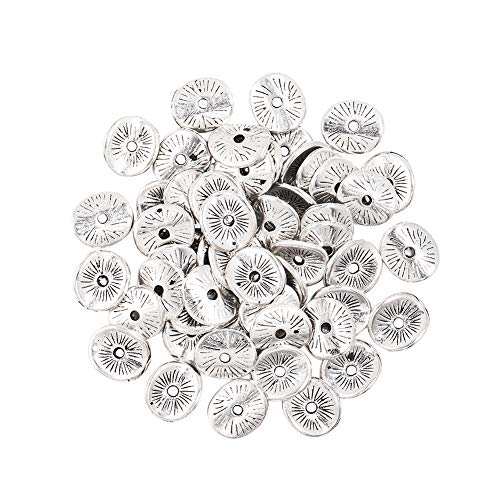 PH PandaHall 400pcs Antique Silver Tibetan Alloy Wavy Spacer Beads Arched Disc Metal Beads for Bracelet Necklace Jewelry Making(9mm, Hole: 1mm)