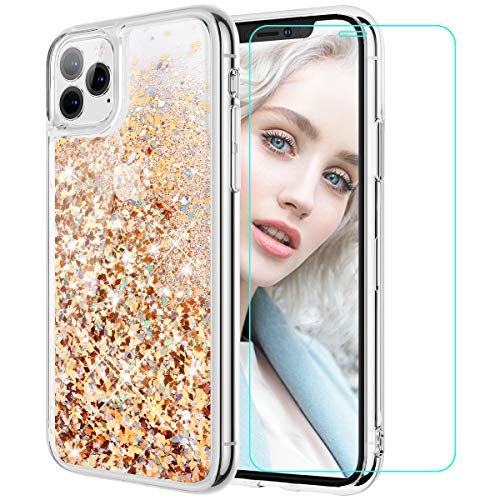 Maxdara Compatible iPhone 11 Pro Max Case, iPhone 11 Pro Max Glitter Case, Liquid Girls Women (Screen Protector) Bling Sparkle Luxury Pretty Phone Case for iPhone 11 Pro Max 6.5 inches (Gold Silver)
