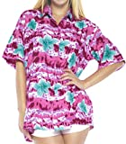 LA LEELA botón de la Camisa Ropa de Playa Impresa Hawaiano de la Mujer Mangas Cortas Aloha Cuello de natación Ocasional M-ES Tamaño: 44-46 Rosa_X28