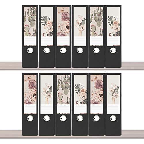 sendmoments Etiketten für Ordner, Rückenschild Design, Blumen, 12 breite Aufkleber für Ordnerrücken, selbstklebende Ordnerrückenetiketten für breite Ordner zum Beschreiben