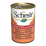 Schesir, Comida húmeda para Gatos Adultos, Sabor bacoreta con Papaya en gelatina Blanda - Total 3,36 kg (24 latas x 140 gr)