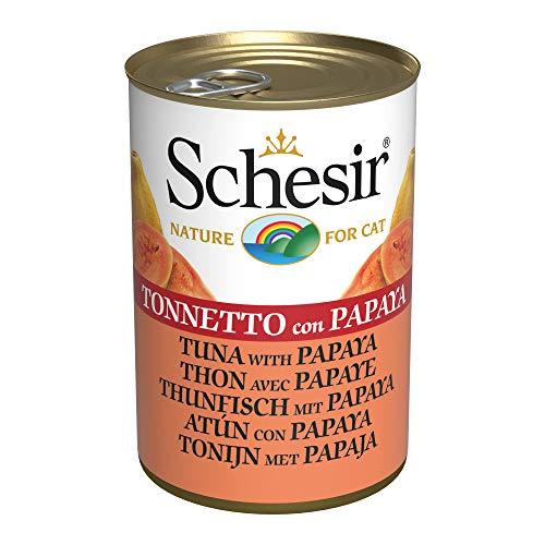 Schesir, Comida húmeda para Gatos Adultos, Sabor bacoreta con Papaya en gelatina Blanda - Total 3,36 kg (24 latas x 140 gr) ⭐