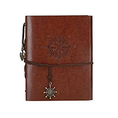 DIY Scrapbook Photo Album Leather Cover Memory Book 60 Pages for Baby Anniversary Birthday Wedding Travel Graduation Self-adhesive Picture (Small Brown Compass)