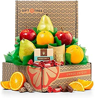 GiftTree Harvest Fruit and Snack Gift Box | Includes Delicious Apples, Juicy Oranges, Pears and Almond Roca, & Chocolate Pomegranate Truffles | Great Gift for Holidays, Christmas, Birthday, Thank You