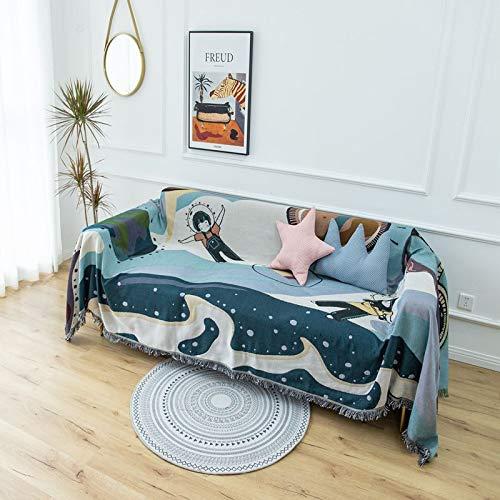 LMDY Home Decor BlanketTravel space sofa cover cloth sofa towel full cover cartoon animation dust-proof non-slip sofa cover230*340CM