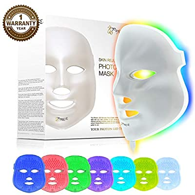 Project E Beauty Skin Rejuvenation Photon Mask | 7 Color LED Photon Light Therapy Treatment Whitening Anti-aging Acne Spot Scar Removal Smooth Wrinkles Fine Lines Tightening Facial Daily Skin Care