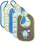 Luvable Friends Unisex Baby Cotton Terry Drooler Bibs with PEVA Back, Robot, One Size