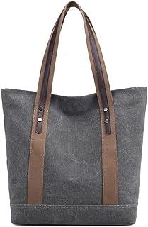 E-girl Damen Canvas Handtaschen Lässige Schultertasche Top Griff Tasche Reißverschluss Leinentasche Tragetasche Tasche,32x...