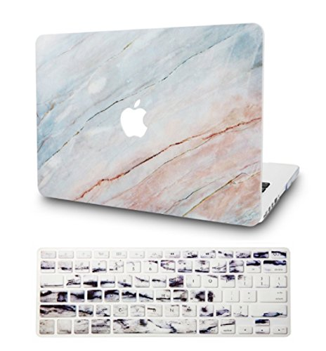 KECC Laptop Case for MacBook Pro 13' (2020/2019/2018/2017/2016) w/Keyboard Cover Plastic Hard Shell A2159/A1989/A1706/A1708 Touch Bar 2 in 1 Bundle (Granite Marble)